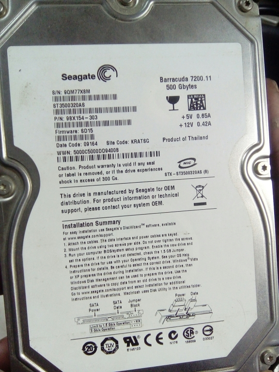 Seagate Barracuda 7200 500 Гб sata
